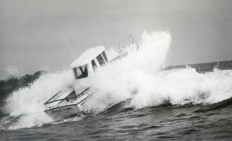 Shamrock Pilothouse through the waves